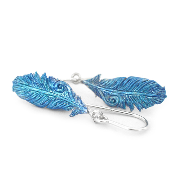 takahe blue feathers feather bird native earrings sterling silver nature