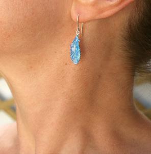 takahe feather blue bright bird native koru sterling silver earrings