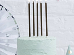 Tall Black Candles Metallic