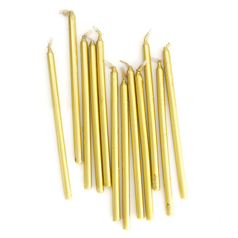 Tall Cake Candles -Gold- pkt 12