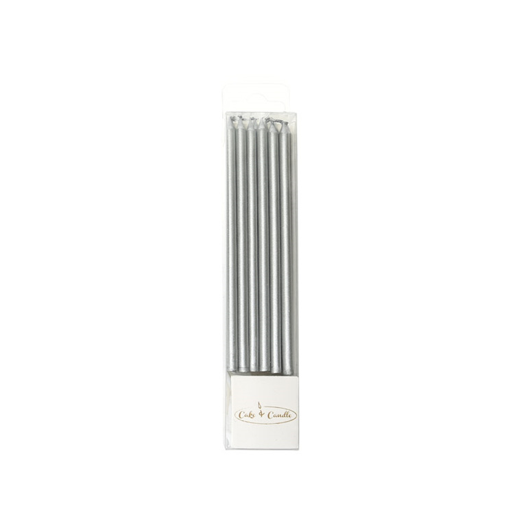 Tall Cake Candles Silver