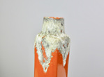 Tall Vintage Orange West German Vase with White Fat Lava Glaze Top