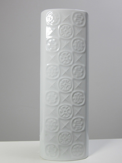 Tall Vintage White Porcelain Vase  with Cool Mid-Century Design Pattern