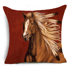 TAN HORSE WITH FEATHERS IN MANE CUSHION COVER