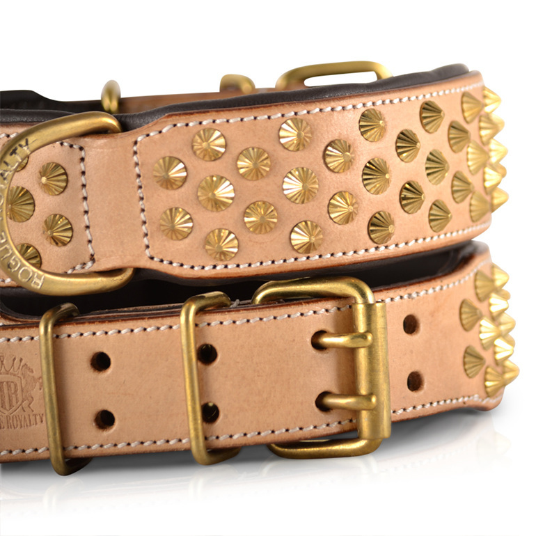 Tan Leather and Brass Studded Leather Dog Collar for Large Dogs by Rogue Royalty