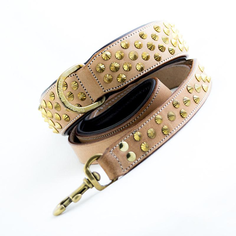 Tan Leather and Brass Studded Leather Dog Leash for Large Dogs by Rogue Royalty