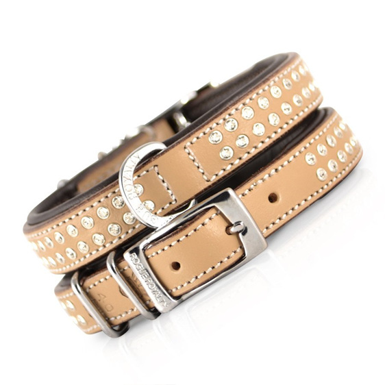 Tan Leather Dog Collar with Diamantes  for Large Dogs by Rogue Royalty