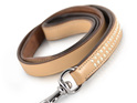 Tan Leather Dog Leash with Diamantes  for Large Dogs by Rogue Royalty