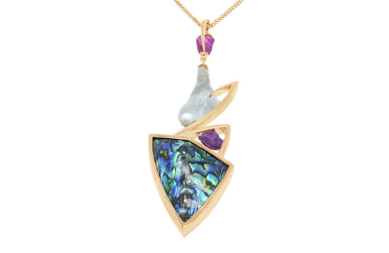 Tane: Pearl, Paua, and Sapphire pendant in 18ct yellow gold - JDA Finalist 2019