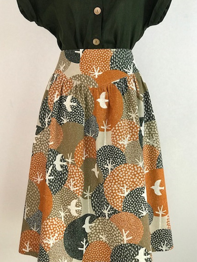 Tangelo printed yoke skirt