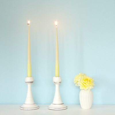 Colour dipped taper candles - Neon Yellow