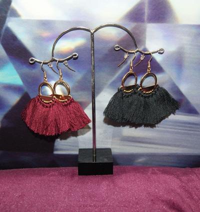 Tasman Earrings Black Tassle