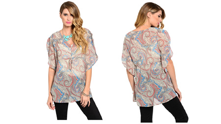 Taupe Butterfly Sleeves Top