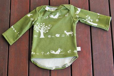 'Taylor' Long-sleeve Envelope-neck Top, 'Forest friends' GOTS Organic Cotton Knit, 0-3m