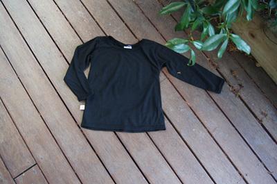 'Taylor' Long Sleeve Top, 100% NZ Merino, Black, 18 -24 months