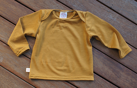 'Taylor' Long Sleeve Top, 'Dijon' 100% NZ Merino, 6-9m