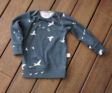 'Taylor' Long Sleeve Top, 'Flight' Dusk GOTS Organic Cotton, 0-3m
