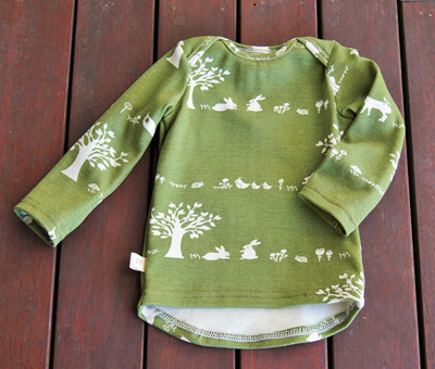 'Taylor' long sleeve top, 'Forest Friends' GOTS Organic Cotton Knit, 6-9m