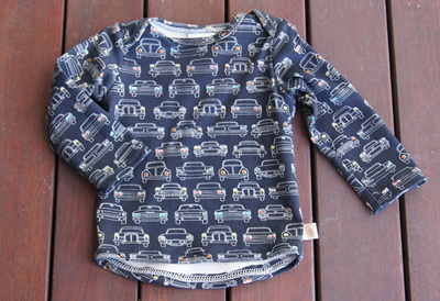 'Taylor' Long Sleeve Top, 'Headlights' GOTS Organic Cotton Knit, 3-6m