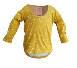 'Taylor' long sleeve top, 'Wink Marigold' GOTS Organic Cotton Knit, 2 years