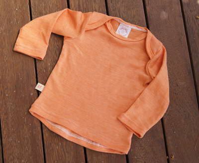 """Taylor"" Long Sleeve Top with envelope neck, 'Sunset' 50/50 NZ Merino/Cotton"
