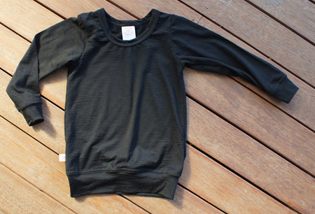 'Taylor' Long Sleeve Top with waistband, 100% NZ Merino, Black, 4 years