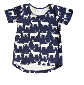 'Taylor' short-sleeve Tee, 'Elk Family' GOTS Organic Cotton Knit, 18m