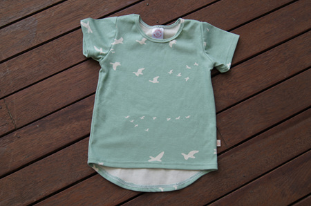 'Taylor' short sleeve Tee, 'Flight, Mint' GOTS Organic Cotton, 3 Years