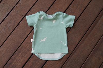 'Taylor' short sleeve Tee, 'Flight Mint' GOTS Organic Cotton, 3-6 months