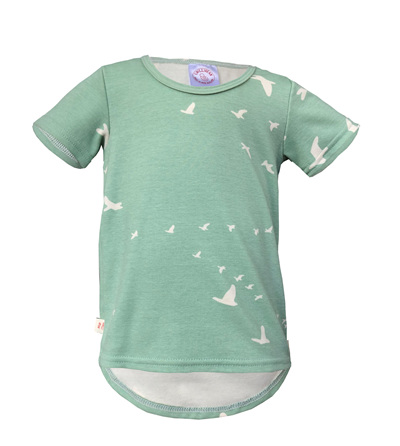 'Taylor' short sleeve Tee, 'Flight Mint' GOTS Organic Cotton, 2 Years