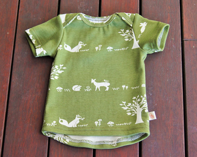 'Taylor' Short Sleeve Tee, 'Forest Friends' GOTS Organic Cotton Knit, 3-6m