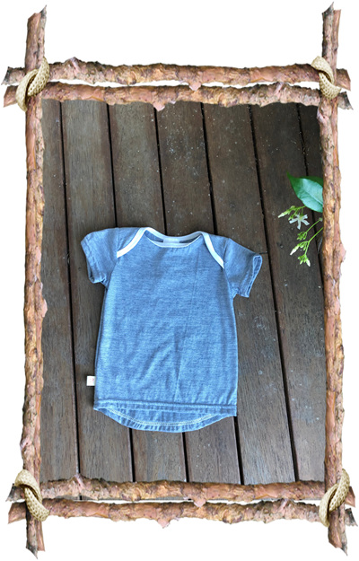 'Taylor' Tee, 50/50 Merino/cotton blend, 'Blue Stripe', 1 year