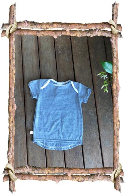 'Taylor' Tee, 'Blue Stripe' 50/50 NZ Merino/Cotton, 9-12 months