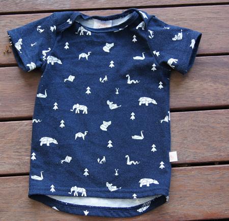 'Taylor' Tee, 'Geo Animals, Blue' 100% Cotton Knit, 6-9m