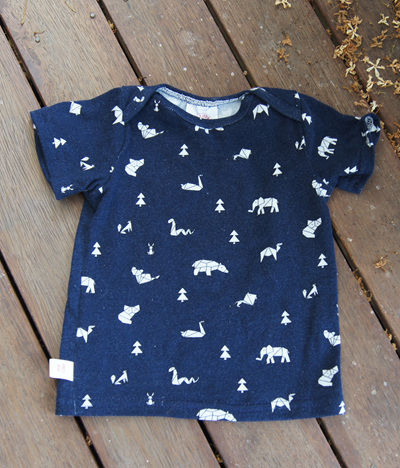 """Taylor"" Tee, 'Geo Animals, Blue' 100% Cotton Knit, 6-9m"