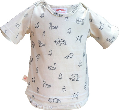 'Taylor' Tee, 'Geo Animals, White' 100% Cotton, 0-3 months