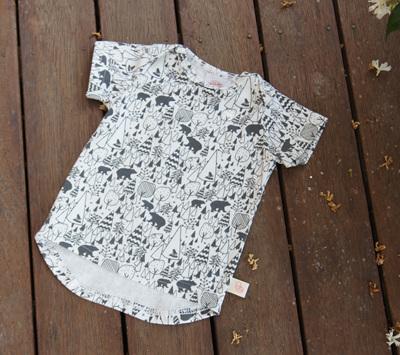 """Taylor"" Tee, 'Scandi Bear' cotton knit, 0-3m"