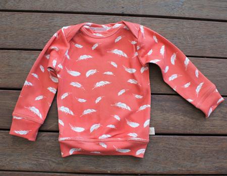 """Taylor"" Top, certified organic cotton knit, ""Plumage, Salmon"", 1 year"