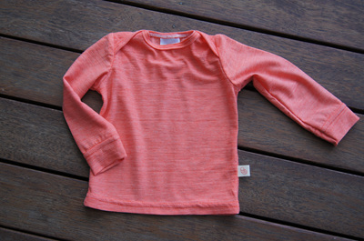 'Taylor' top with cuff sleeves, 50/50 Merino/Cotton 'Crazy Orange', 3-6m