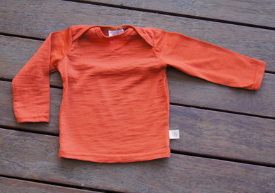 'Taylor' top with long sleeves, 100% Merino,  'Rust',  3-6m