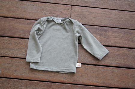 'Taylor' top with long sleeves, 100% Merino,  'Taupe', Prem