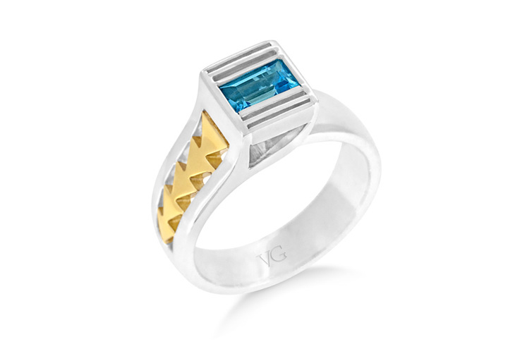Te Papa Ring, Topaz Ring, Yellow Gold, Palladium, Sterling Silver, architecture