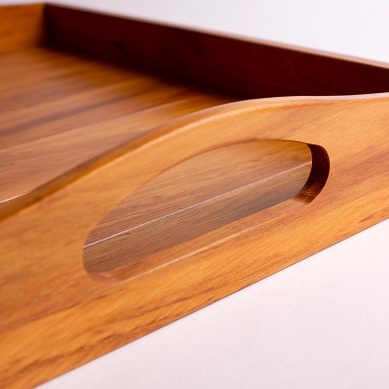 tea and coffee tray handle detail - heart rimu