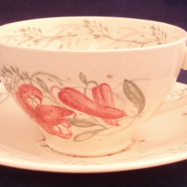 Tea cup and saucer Tiger Lily pattern
