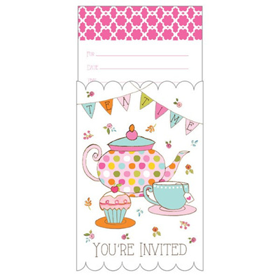 Tea party invites - pop up pack x 8