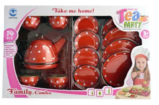 TEA SET METAL RED SPOTS 14PC