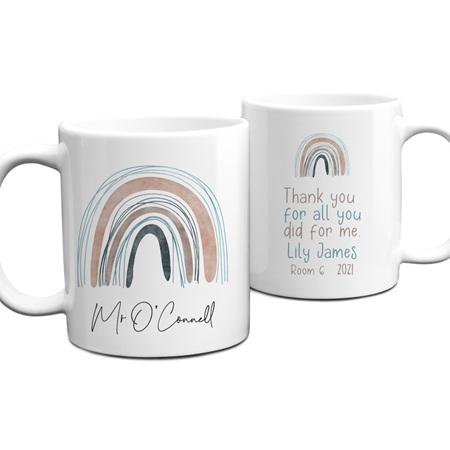Teacher Abstract Rainbow Personalised Mug