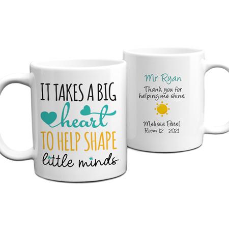 Teacher Big Heart Personalised Mug
