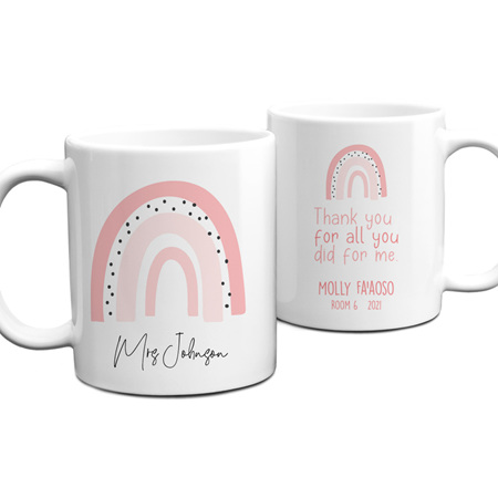 Teacher Pink Rainbow Personalised Mug