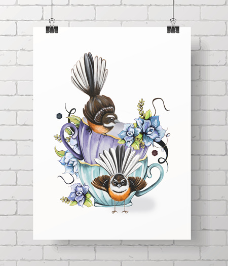 teacup fantails on A3 - just one at this price